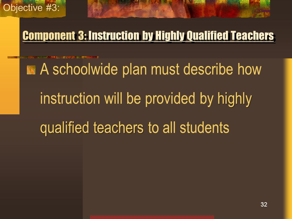 Component 3: Instruction by Highly Qualified Teachers
