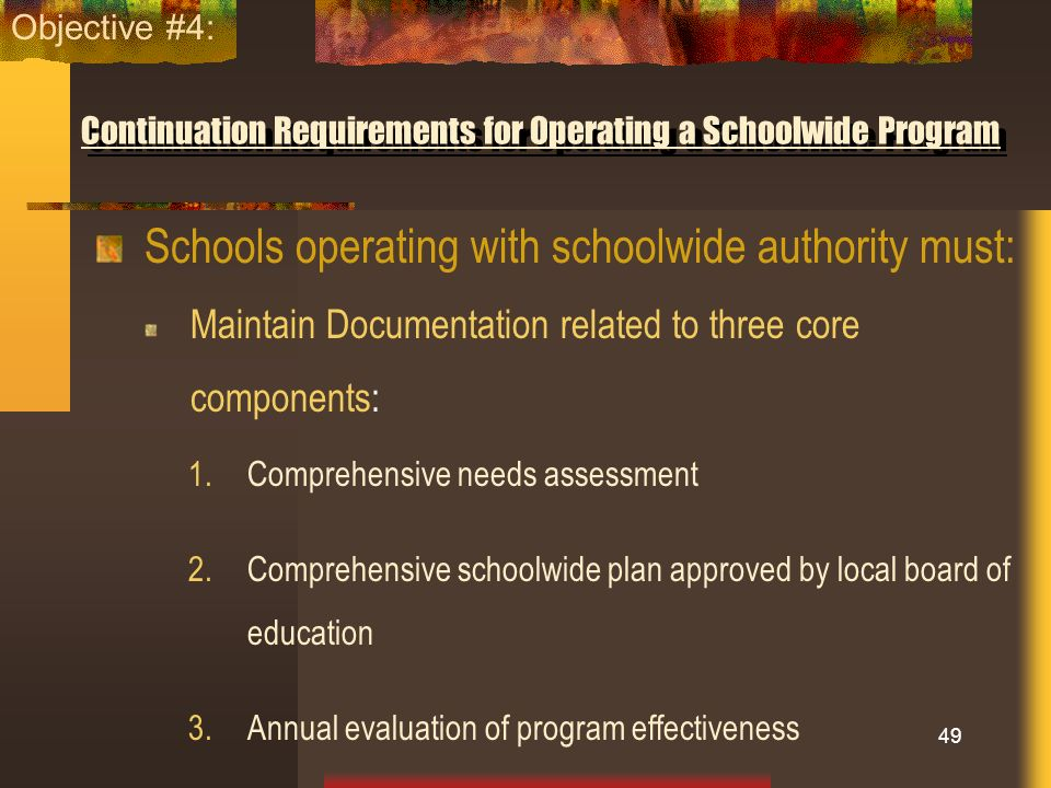 Continuation Requirements for Operating a Schoolwide Program