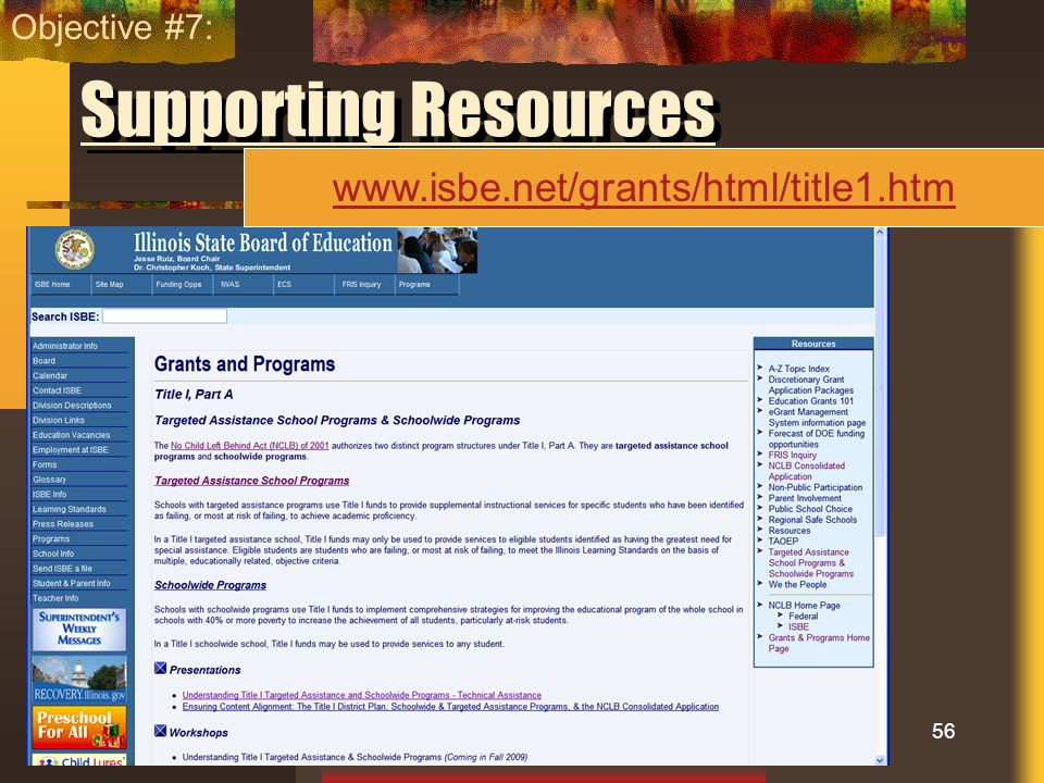 Objective #7: Supporting Resources www.isbe.net/grants/html/title1.htm
