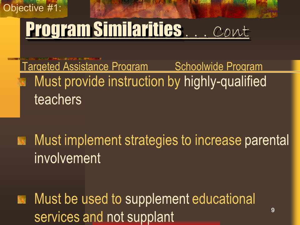 Program Similarities . . . Cont