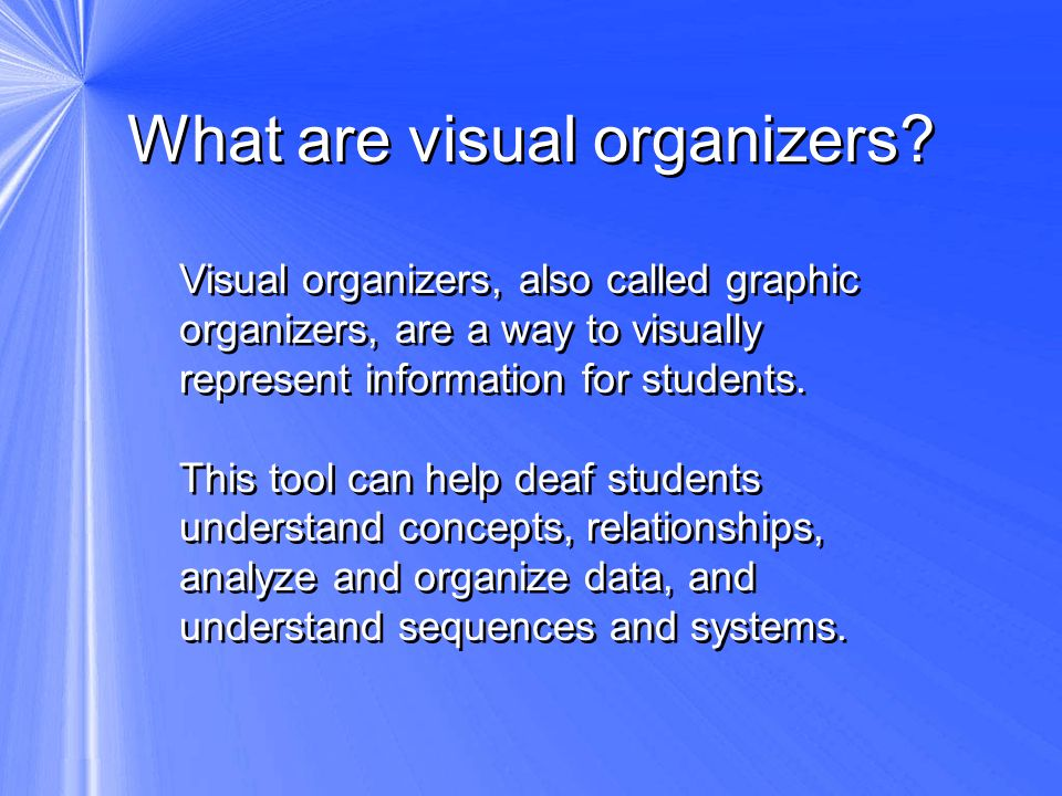 What are visual organizers