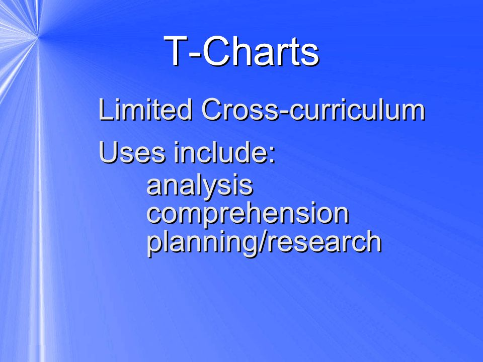 T-Charts Limited Cross-curriculum Uses include: analysis comprehension