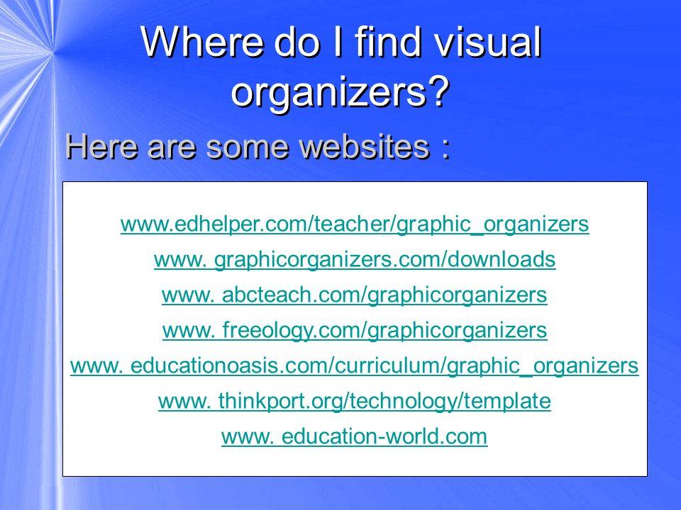 Where do I find visual organizers