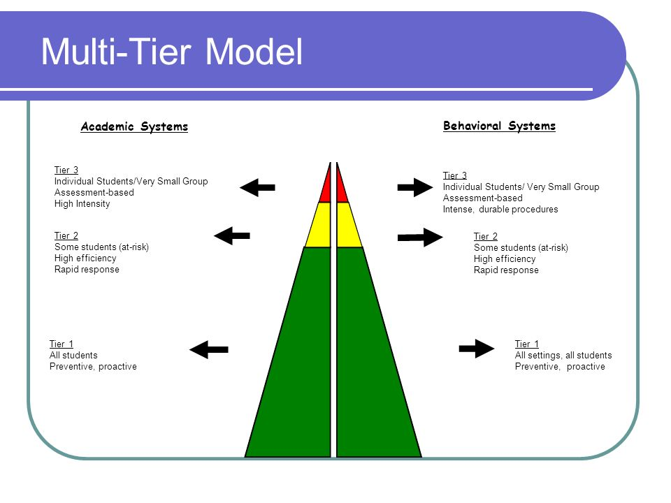 Multi-Tier Model Academic Systems Behavioral Systems Tier 3