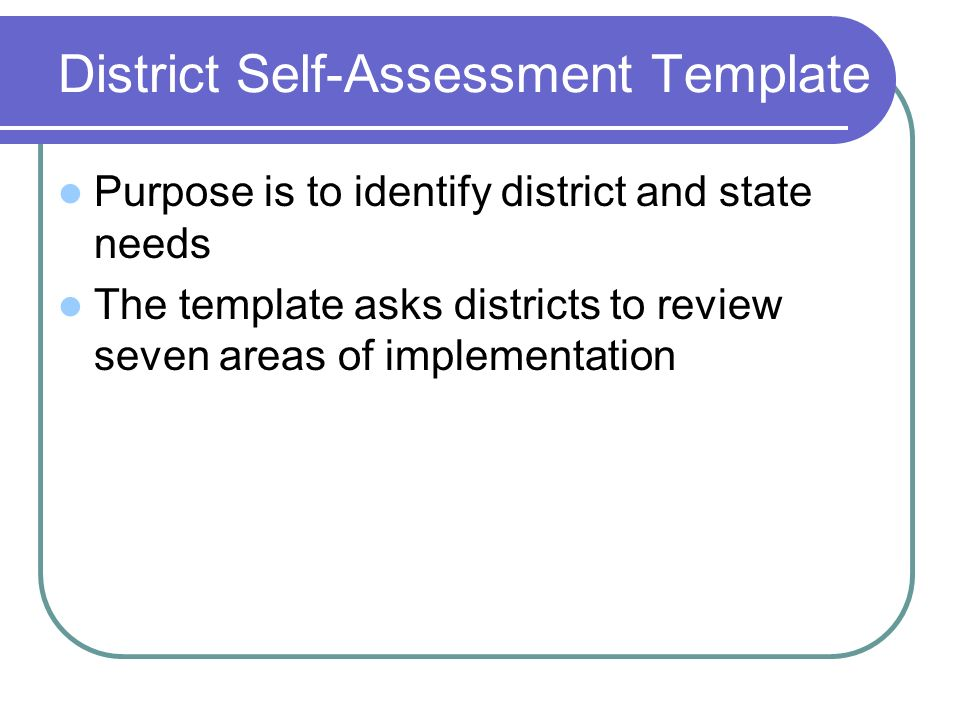 District Self-Assessment Template