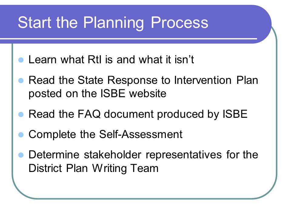 Start the Planning Process