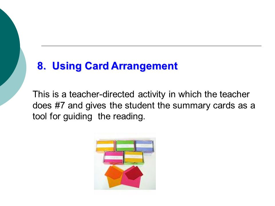 8. Using Card Arrangement