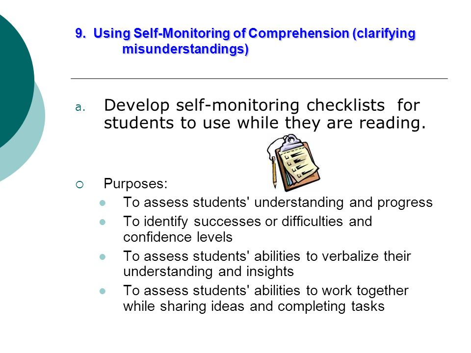 9. Using Self-Monitoring of Comprehension (clarifying