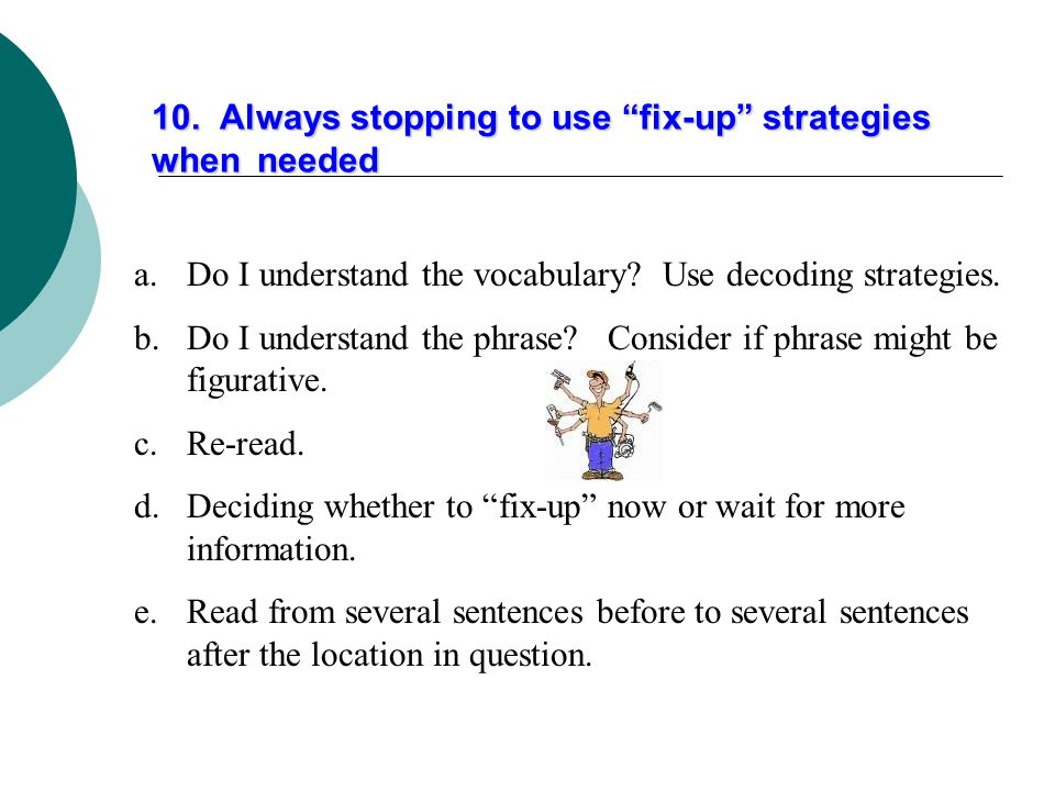 10. Always stopping to use fix-up strategies when needed
