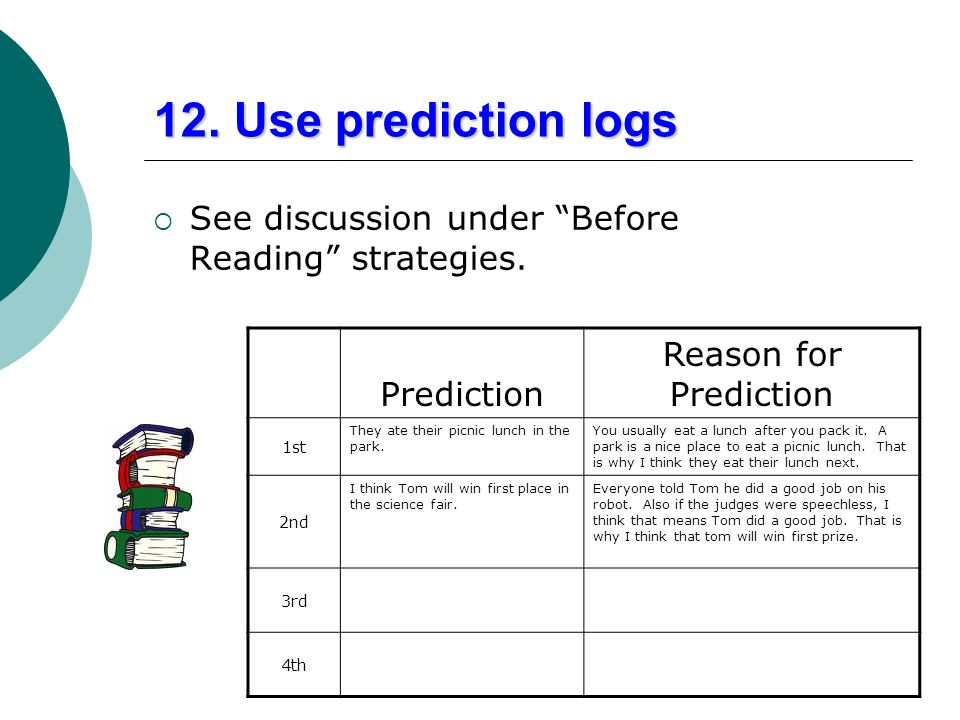 12. Use prediction logs Reason for Prediction Prediction