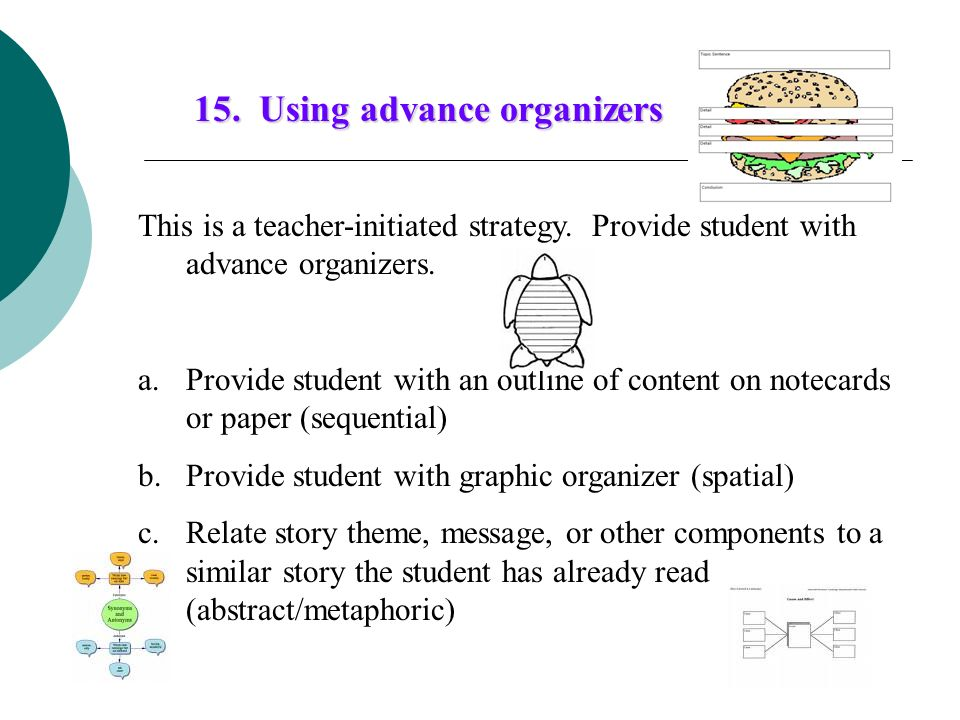15. Using advance organizers