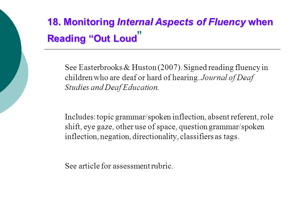 18. Monitoring Internal Aspects of Fluency when Reading Out Loud