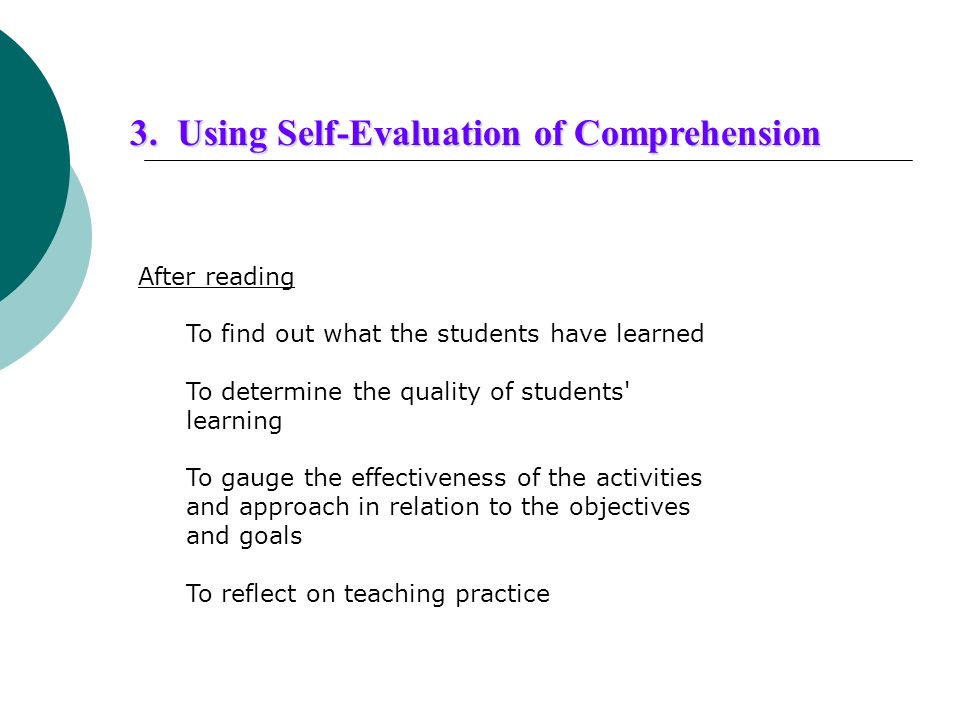 3. Using Self-Evaluation of Comprehension