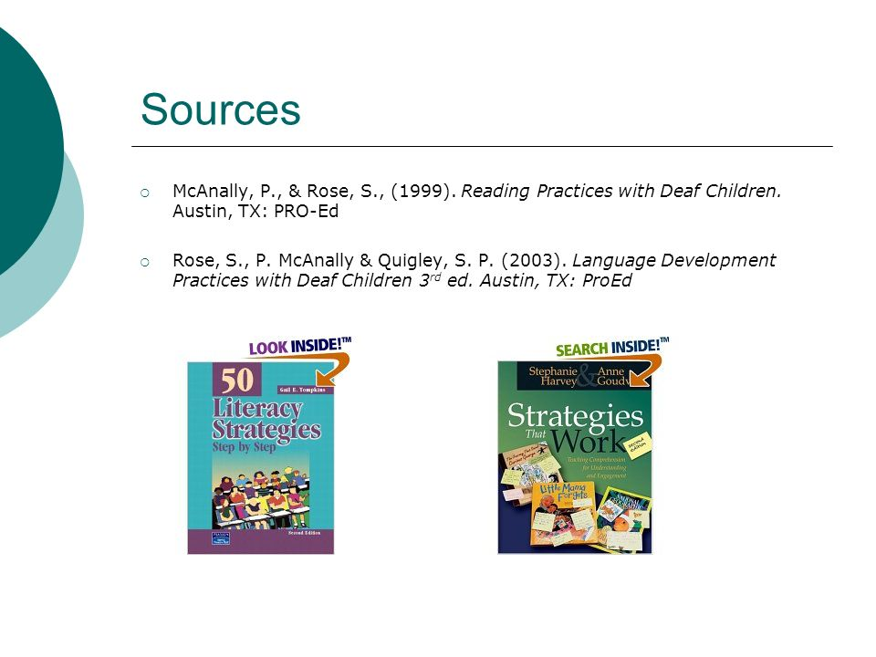 Sources McAnally, P., & Rose, S., (1999). Reading Practices with Deaf Children. Austin, TX: PRO-Ed.