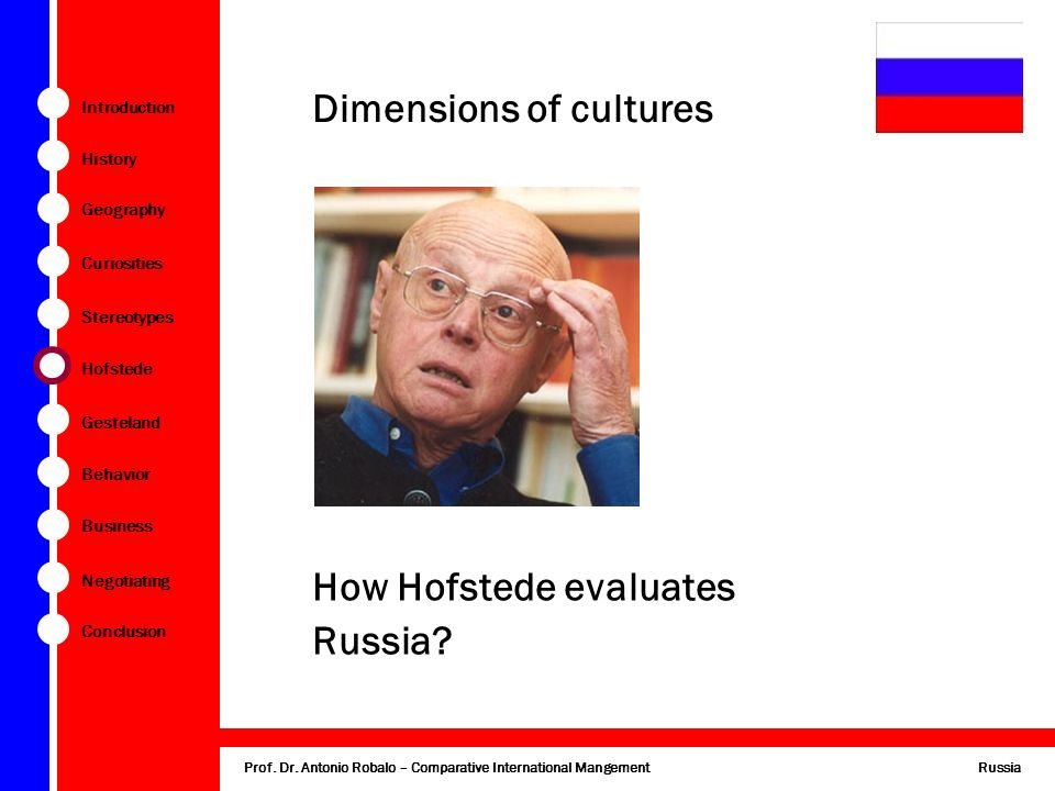 hofstede s dimension russia Hofstede's five cultural dimensions by simon kriss - may 21,  62,022 views tweet many people are now turning to the work done by geert hofstede between 1967 and 1973 working for ibm at the time, the professor collected and analyzed data from more than 100,000 individuals in 50 countries to  huge cultural mismatch china.