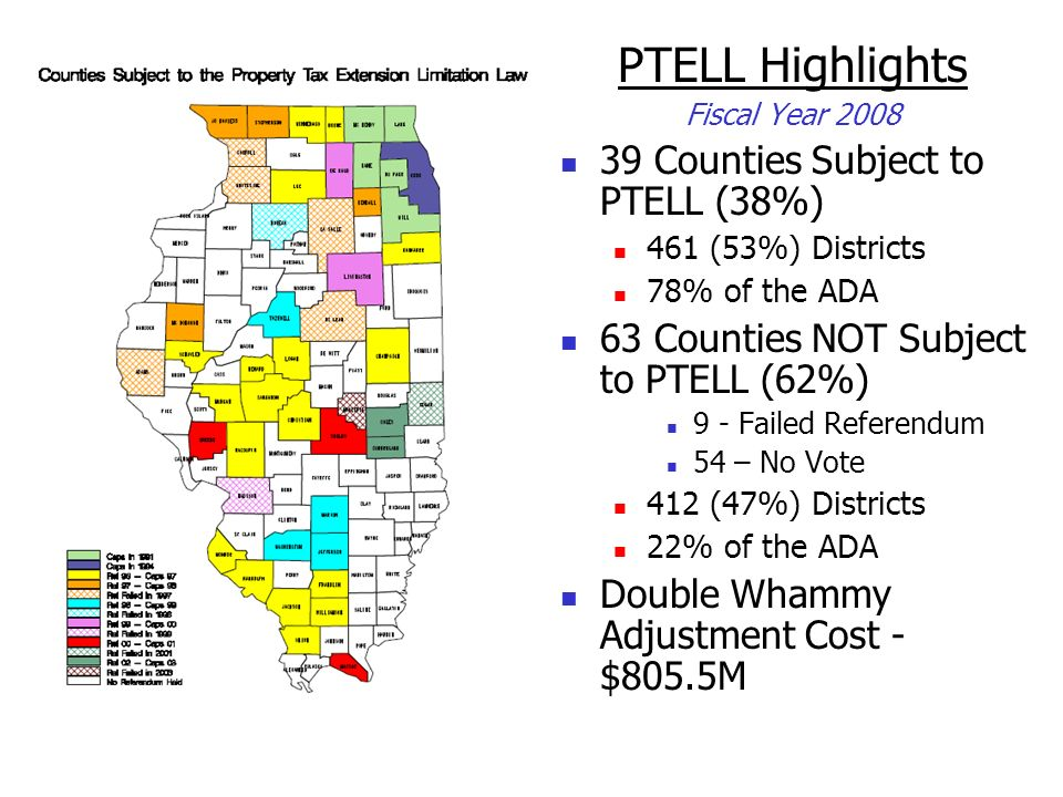 PTELL Highlights 39 Counties Subject to PTELL (38%)