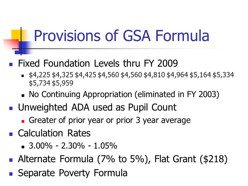 Provisions of GSA Formula