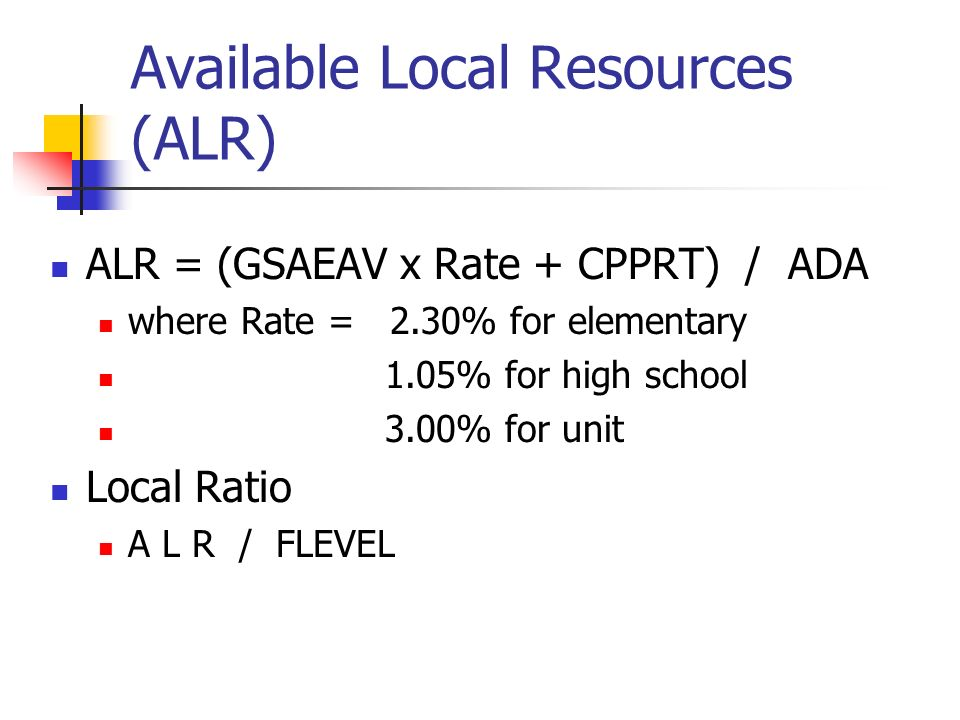 Available Local Resources (ALR)