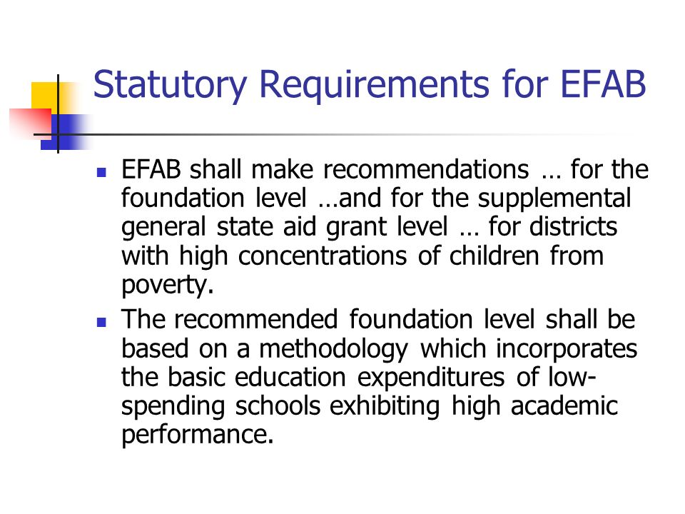Statutory Requirements for EFAB