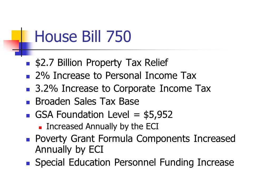 House Bill 750 $2.7 Billion Property Tax Relief