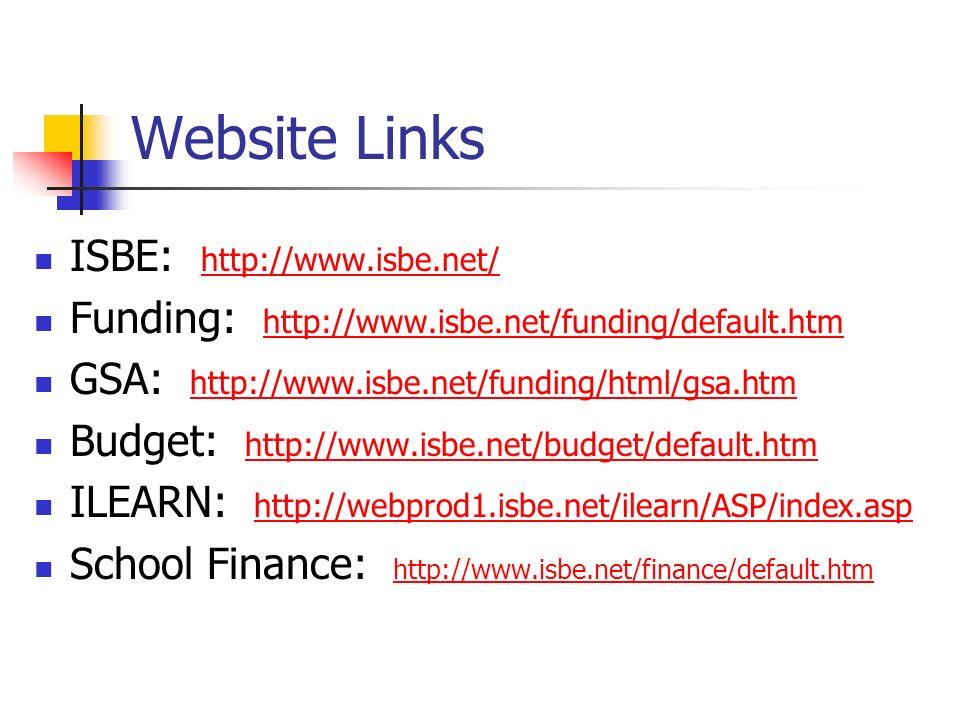 Website Links ISBE: http://www.isbe.net/
