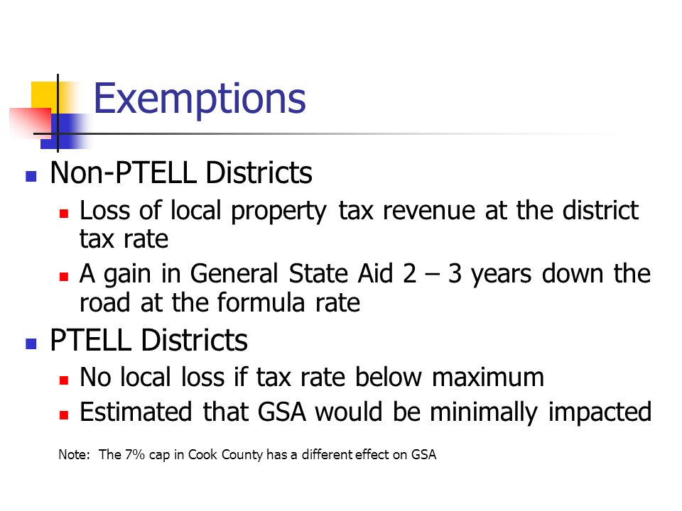 Exemptions Non-PTELL Districts PTELL Districts