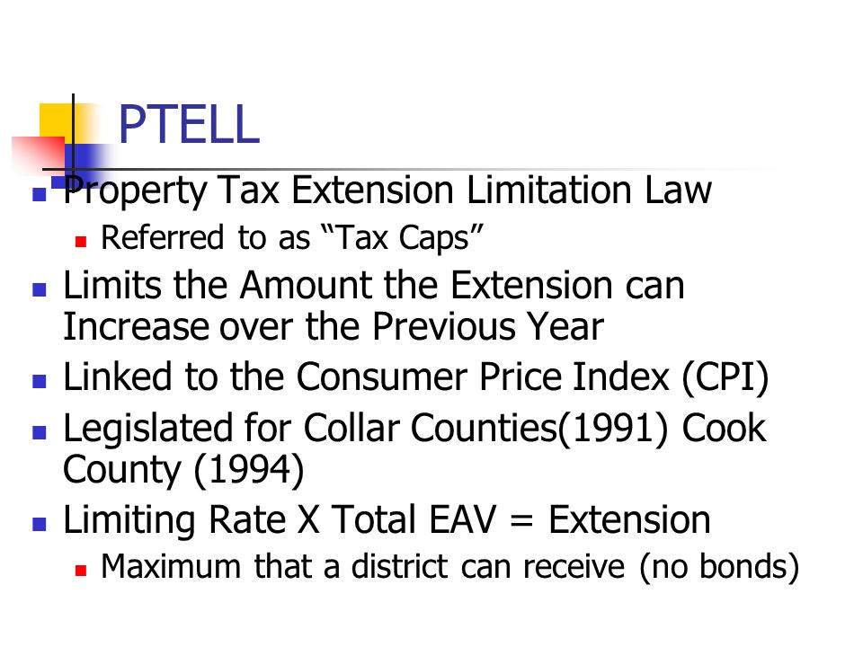 PTELL Property Tax Extension Limitation Law