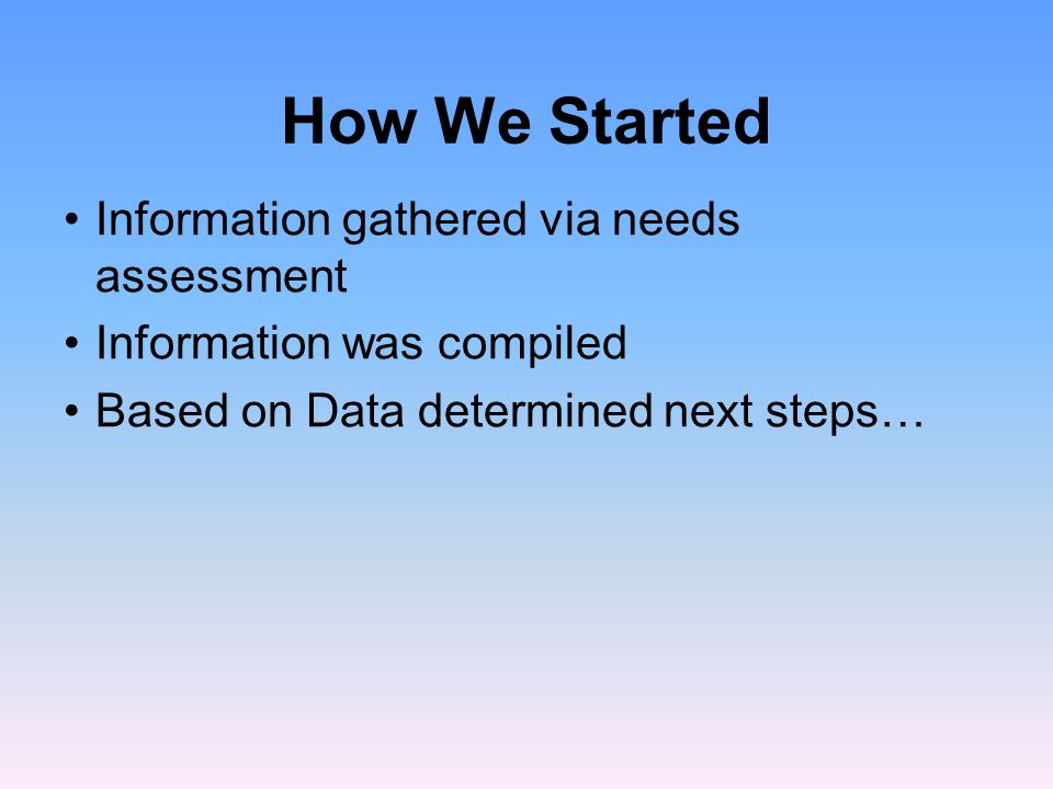 How We Started Information gathered via needs assessment