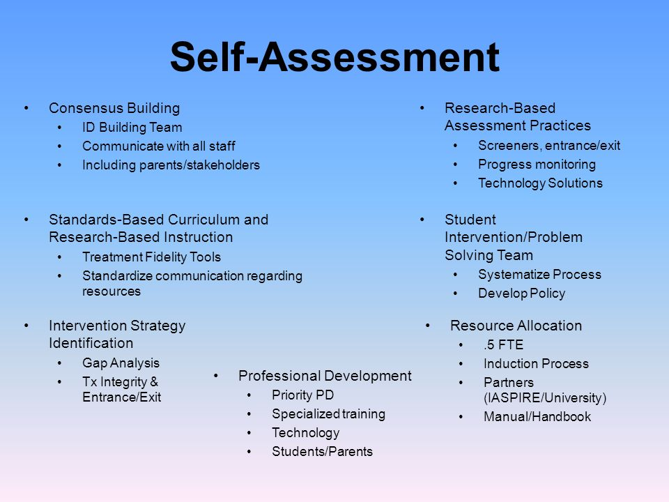 Self-Assessment Consensus Building Research-Based Assessment Practices