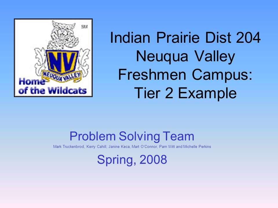 Indian Prairie Dist 204 Neuqua Valley Freshmen Campus: Tier 2 Example