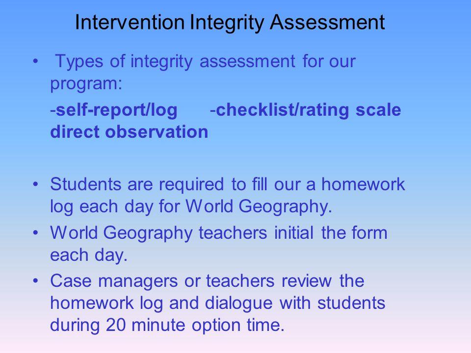 Intervention Integrity Assessment