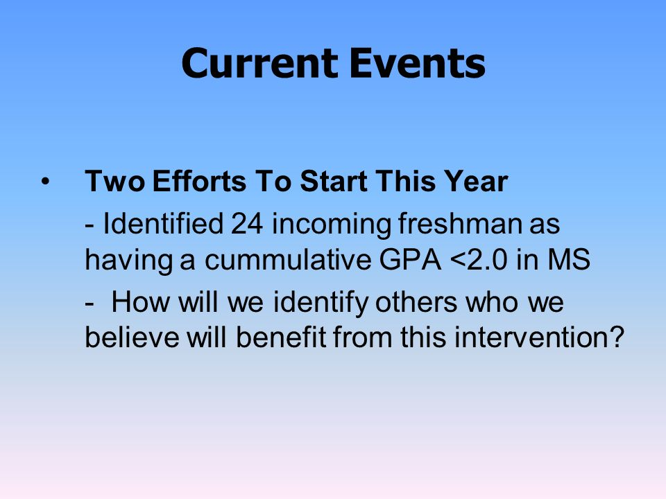 Current Events Two Efforts To Start This Year