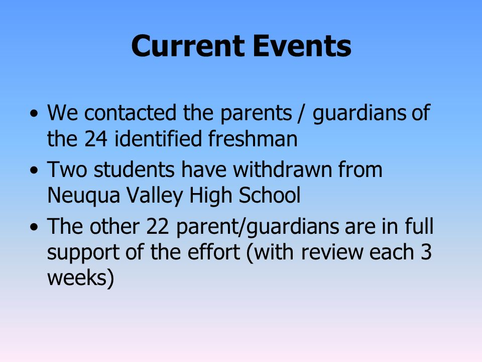 Current Events We contacted the parents / guardians of the 24 identified freshman. Two students have withdrawn from Neuqua Valley High School.