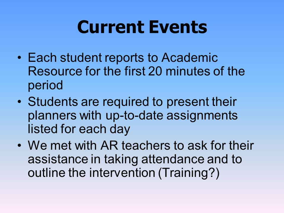 Current Events Each student reports to Academic Resource for the first 20 minutes of the period.