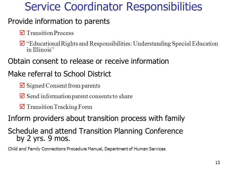 Service Coordinator Responsibilities