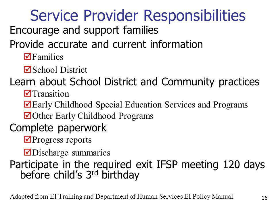Service Provider Responsibilities