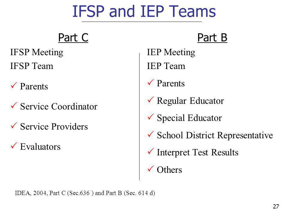 IFSP and IEP Teams Part C Part B IFSP Meeting IFSP Team Parents