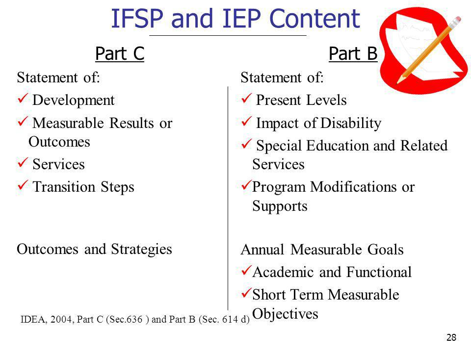 IFSP and IEP Content Part C Part B Statement of: Development