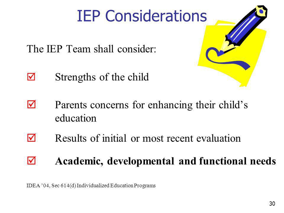 IEP Considerations The IEP Team shall consider: