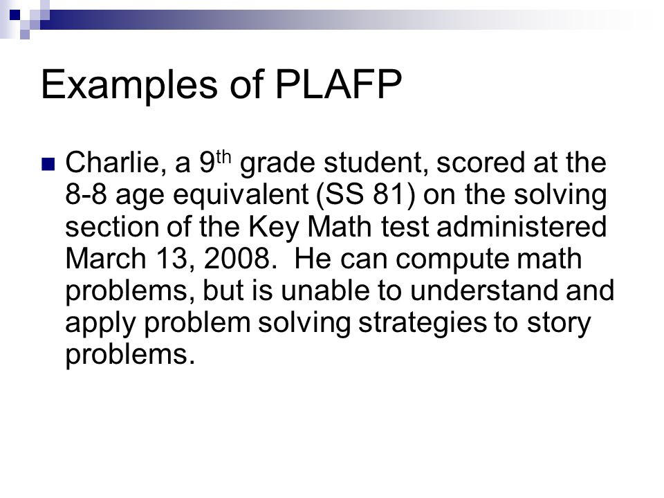 Examples of PLAFP