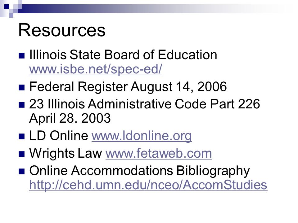 Resources Illinois State Board of Education