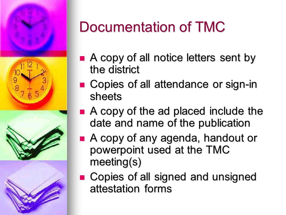 Documentation of TMC A copy of all notice letters sent by the district