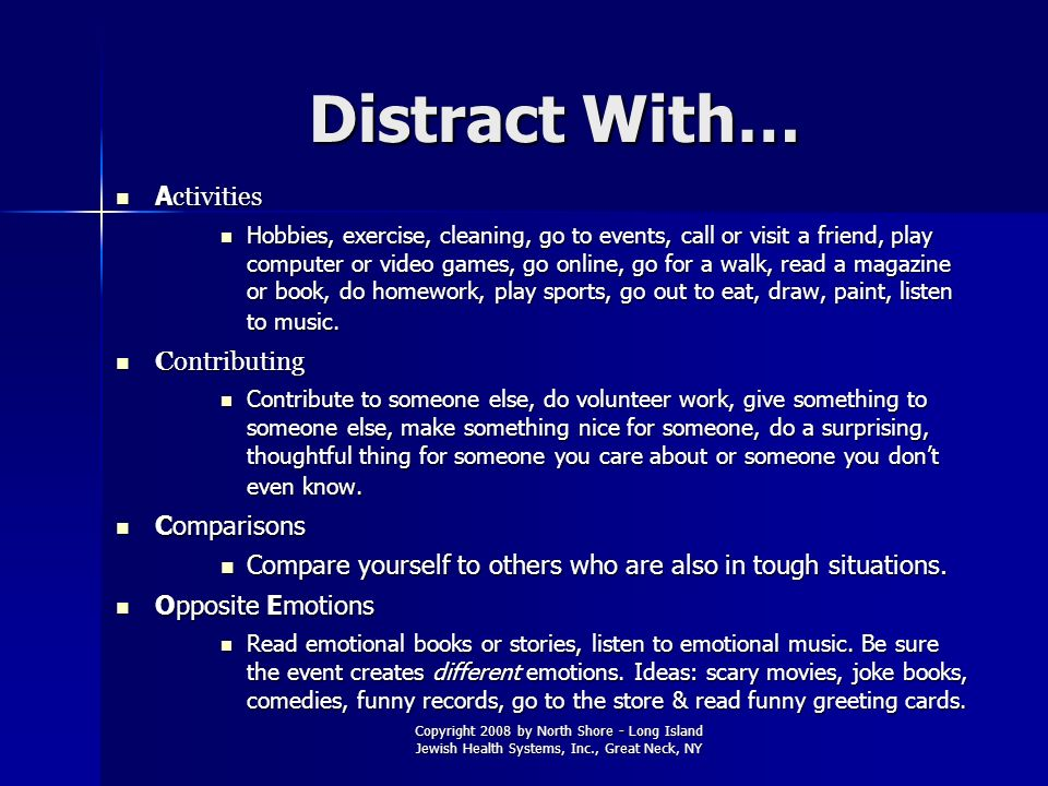 Distract With… Activities Contributing Comparisons