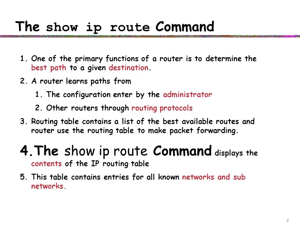 Basic router troubleshooting ppt video online download the show ip route command keyboard keysfo Gallery