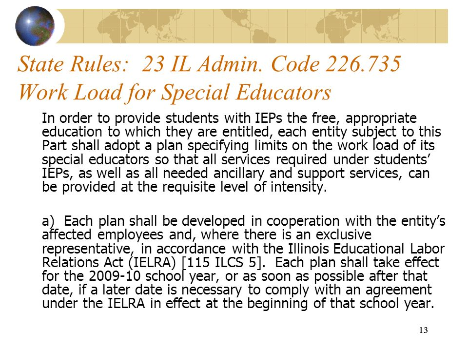 State Rules: 23 IL Admin. Code 226.735 Work Load for Special Educators