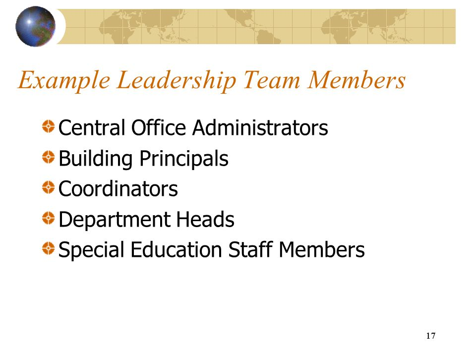 Example Leadership Team Members