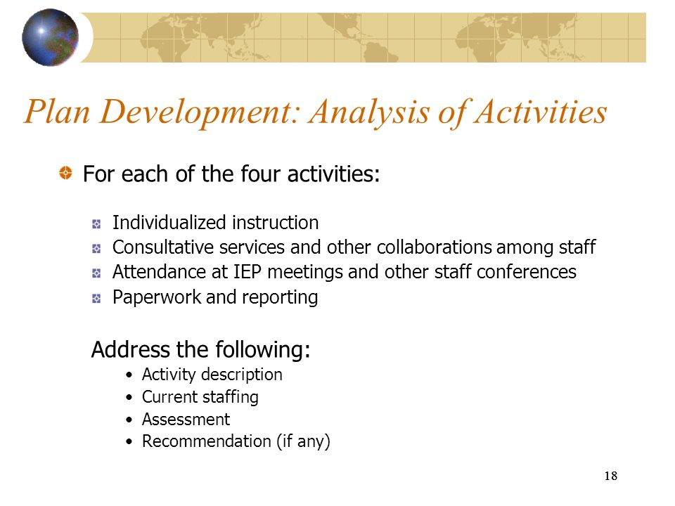 Plan Development: Analysis of Activities