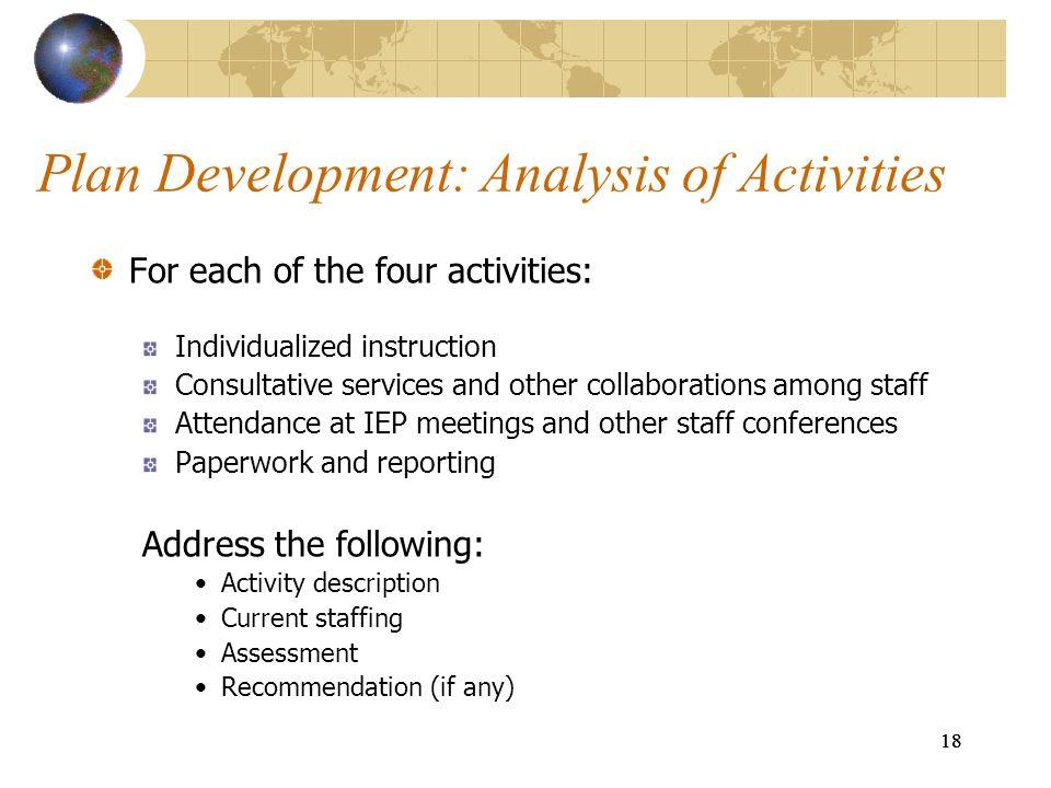 Plan Development: Analysis of Activities