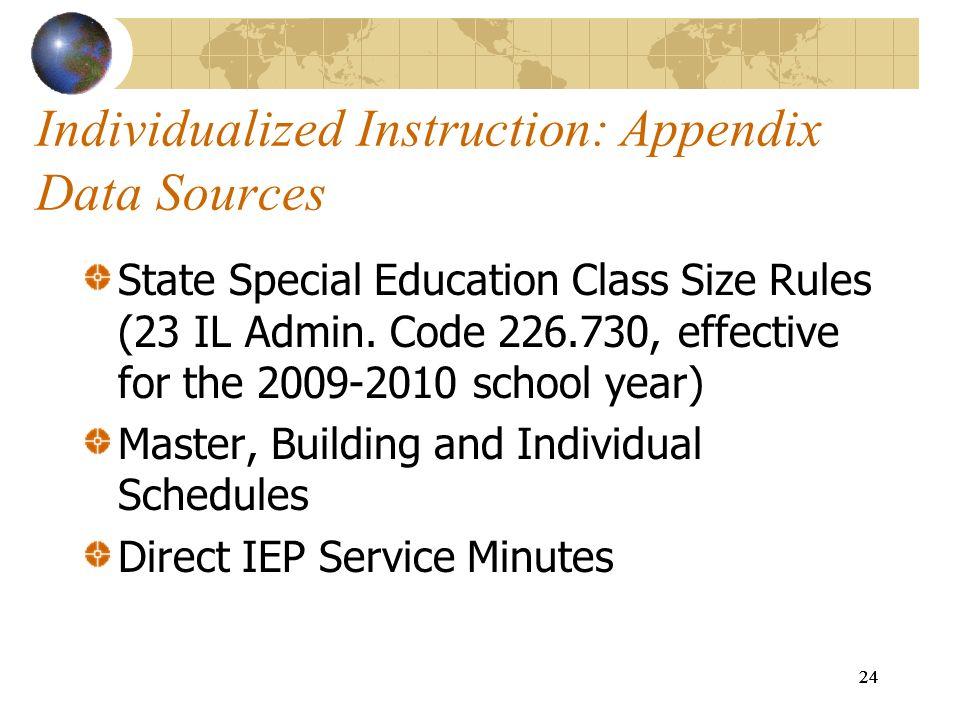 Individualized Instruction: Appendix Data Sources