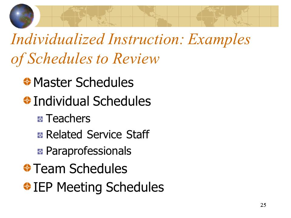 Individualized Instruction: Examples of Schedules to Review